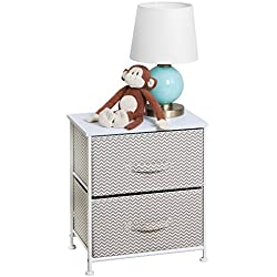 mDesign Chevron Fabric Baby 2-Drawer Dresser and Storage Organizer Unit for Nursery, Bedroom, Play Room - Taupe/Natural
