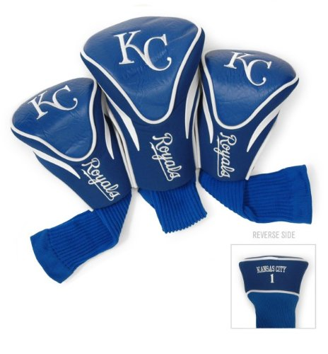 Team Golf MLB Kansas City Royals Contour Golf Club Headcovers (3 Count), Numbered 1, 3, & X, Fits Oversized Drivers, Utility, Rescue & Fairway Clubs, Velour lined for Extra Club ()
