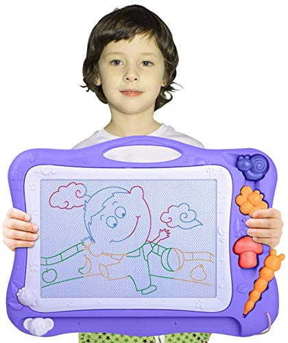 Automoness Magnetic Drawing Board for Kids, Large Doodle Board Erasable Writing Painting Sketch Pad with 3 Stamps and 1 Pen Children Toddlers Toys