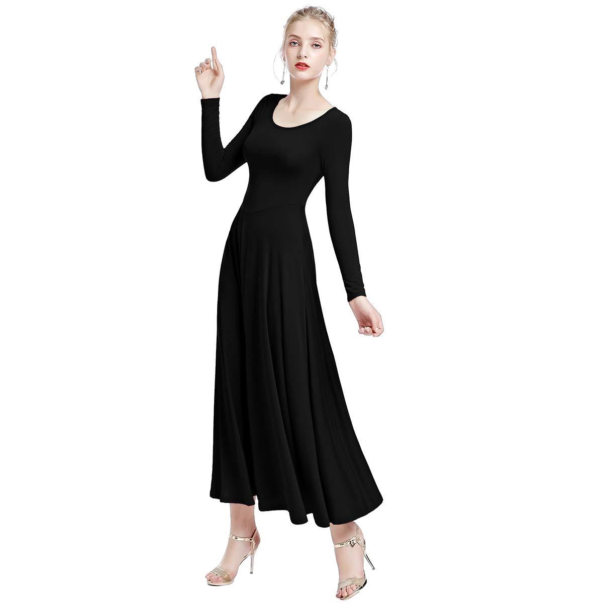 8d87363dcaf Amazon.com  IBTOM CASTLE Womens Liturgical Praise Lyrical Dance Dress Loose  Fit Full Length Long Sleeve Worship Costume Ballet  Clothing