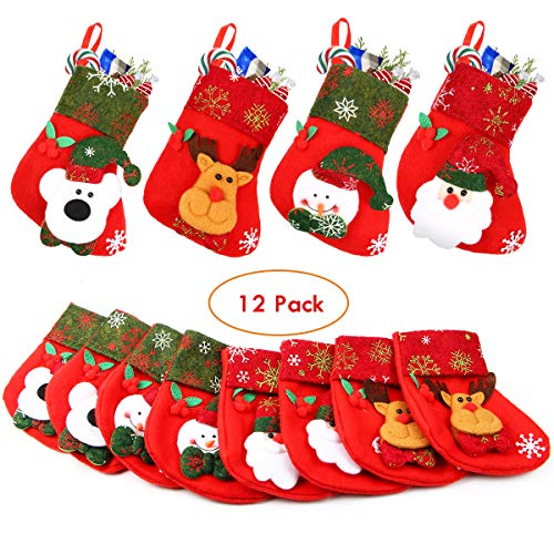 Aitey Mini Christmas Stockings, Set of 12 Xmas 3D Character Plush Santa, Snowman, Reindeer, Bear, Bulk Personalized Stocking Felt Red Xmas Tree Decorations -