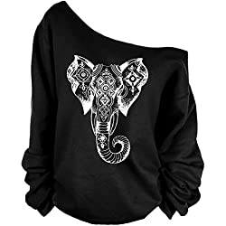 QZUnique Women's Long Sleeve Off Shoulder Black Elephant Sweatshirt