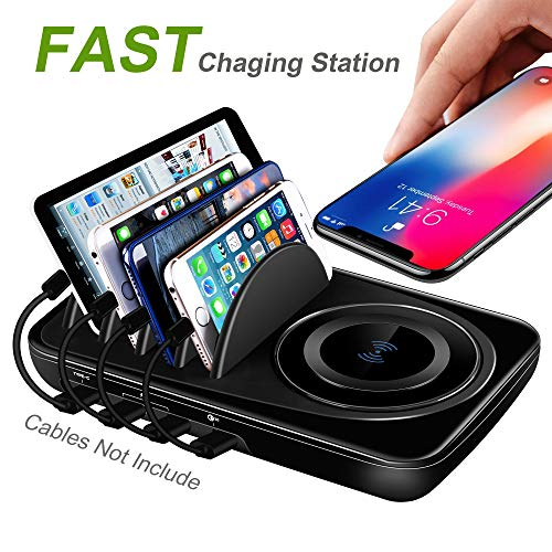 USB Charging Station Dock Quick Charge 3.0 Type-C for Multiple Devices iPad Desktop Charging Stand Organizer Multi Smart Hub Fast Wireless Charger for Android and iOS Phones Black
