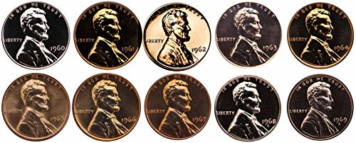 - 1960-1969 S Lincoln Memorial Cent Gem Proof & SMS Run 10 Coins US Mint Penny Lot Complete 1960's Set