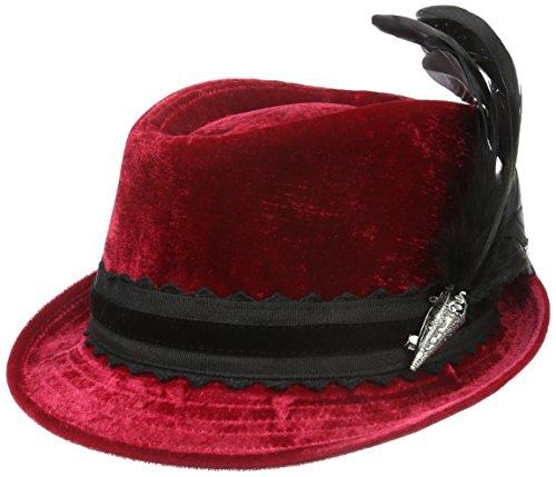 di con velluto Rouge bisbiglio 20 Hahnenschlappenfeder Cappello alpino Trachtenhüte Femme fIdTxd4