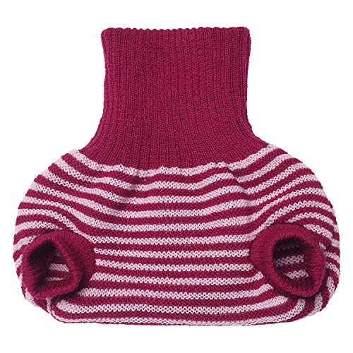 Pull on Diaper Cover for Baby Boys and Girls, 100% Organic Merino Wool Double Knit (74-80cm/ 6-12 Months, Berry/Pink Stripes)
