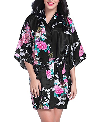 Admireme Womens Bridesmaid Robes Short Peacock Blossoms Kimono Robe Dressing Gown Floral Robes