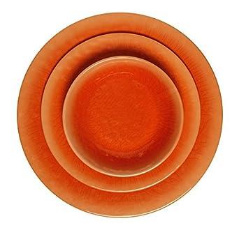 Melange 12-Piece 100% Melamine Dinnerware Set (Crackle Collection ) | Shatter-  sc 1 st  Amazon.com & Amazon.com: Melange 12-Piece 100% Melamine Dinnerware Set (Crackle ...