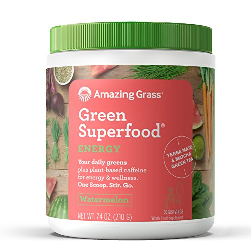 Amazing Grass Energy Green Superfood Organic Powder, Natural Caffeine with Wheat Grass, 7 Greens, Yerba Mate and Matcha Green Tea, Flavor: Watermelon, 30 Servings ()