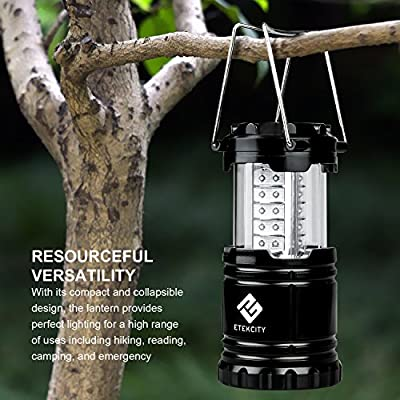 Etekcity Ultra Bright Portable LED Camping Lantern Flashlights (Black, Collapsible)