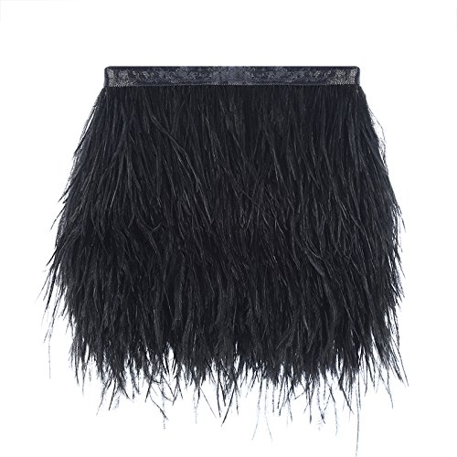 Ostrich Feathers Trims Fringe with Satin Ribbon Tape for Dress Sewing Crafts Costumes Decoration Pack of 2 Yards (Black -