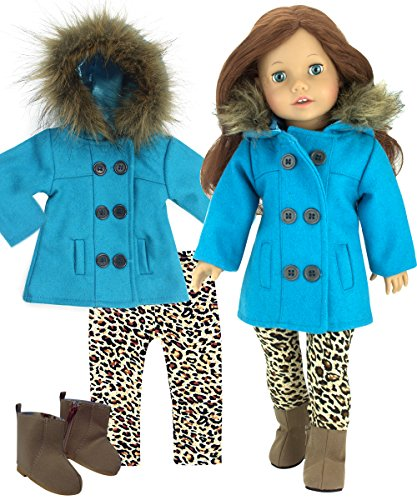 Sophia's 18 in Doll 3 Piece Winter Doll Coat Set for Dolls Turquoise Peacoat, Animal Print Leggings and Ankle Boots