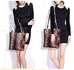 Hoxis Multifunction leopard print Patent Faux Leather Medium Tote 3 Pieces Womens Handbag Set Cross Body Bag Wristlet Purse (Grey)