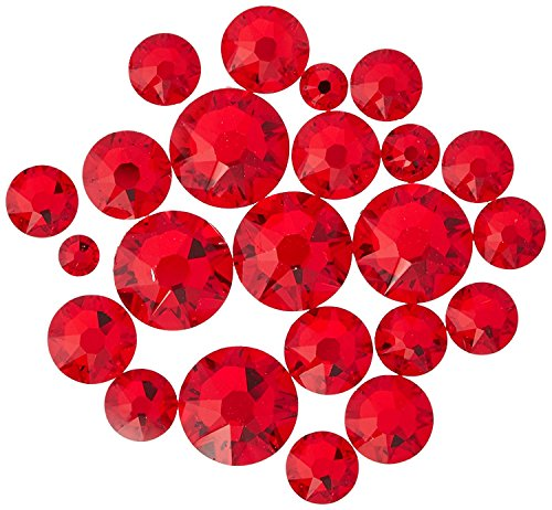 LIGHT SIAM (227) red 144 pcs Swarovski 2058/2088 Crystal Flatbacks red rhinestones nail art mixed with Sizes ss5, ss7, ss9, ss12, ss16, ss20, ss30 ()