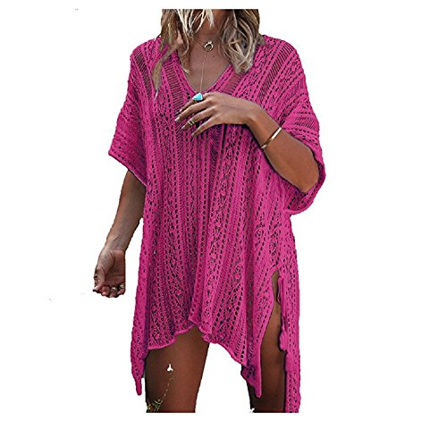 NFASHIONSO Women's Fashion Swimwear Crochet Tunic Cover Up/Beach Dres,Rose Red