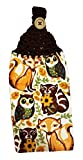 Handcrafted Brown Crochet Topped Fall Animals Kitchen Towel