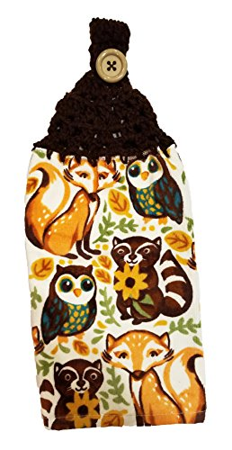 Handcrafted Brown Crochet Topped Fall Animals Kitchen Towel by Joy's Designs from the Heart