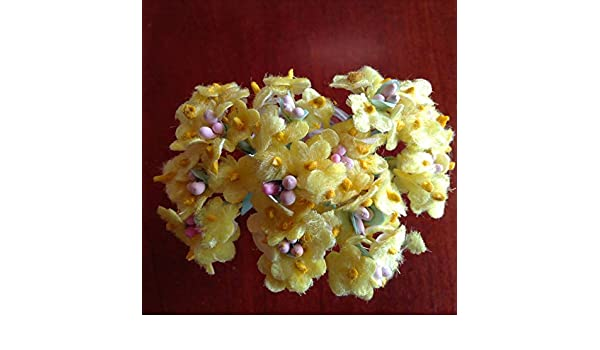 Vintage Millinery Flowers Forget Me Not Yellow Velvet for Hat Doll Hair YV1