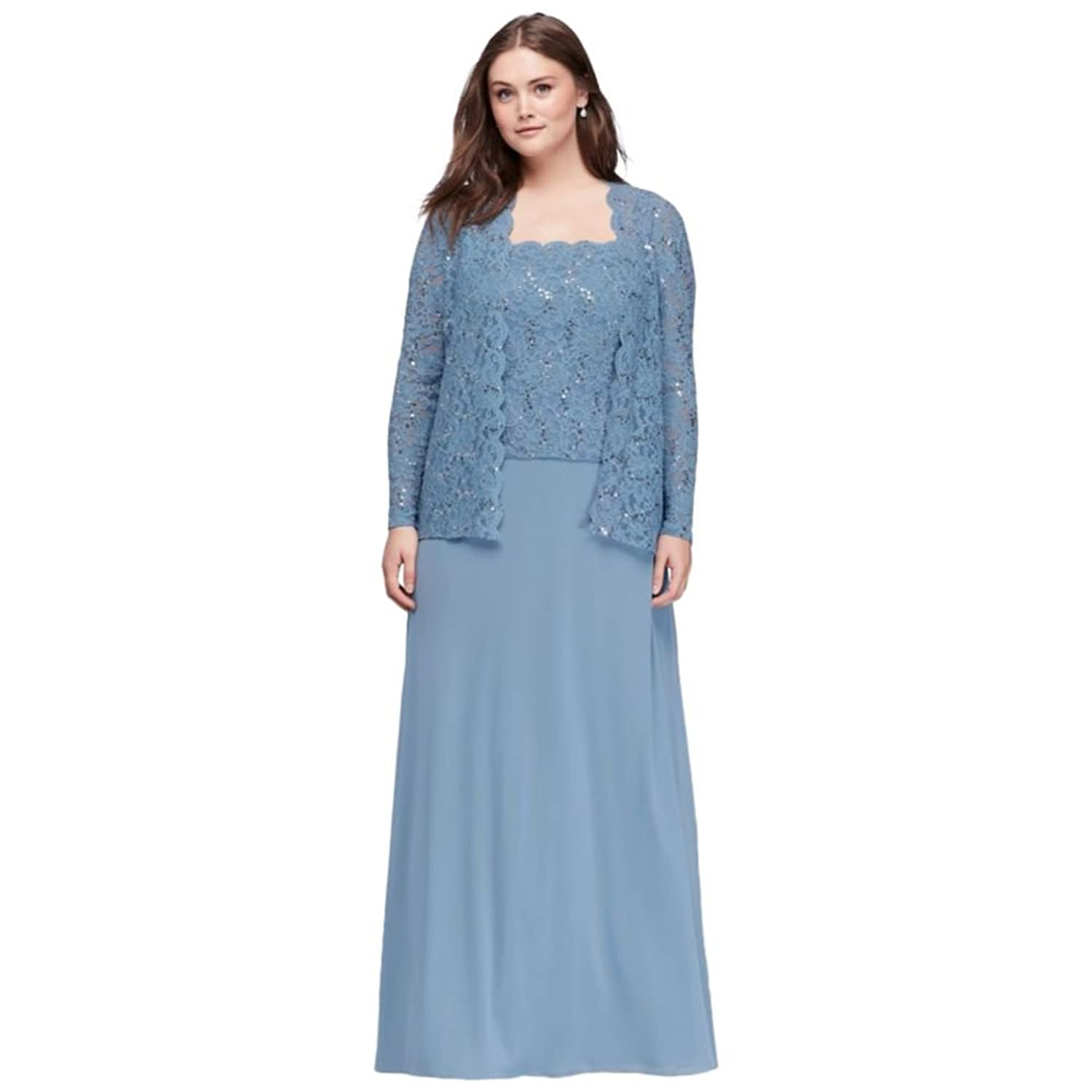Scalloped Lace Two-Piece Plus Size Mother of Bride/Groom Dress Style ...