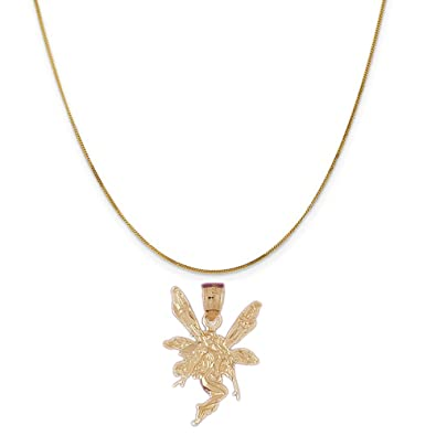 Amazon 14k yellow gold fairy pendant on a 14k yellow gold curb 14k yellow gold fairy pendant on a 14k yellow gold curb chain necklace 16quot aloadofball Gallery