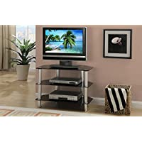 Black Shiny Metal Glass TV Stand by Poundex