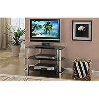 Black Shiny Metal Glass TV Stand by Poundex