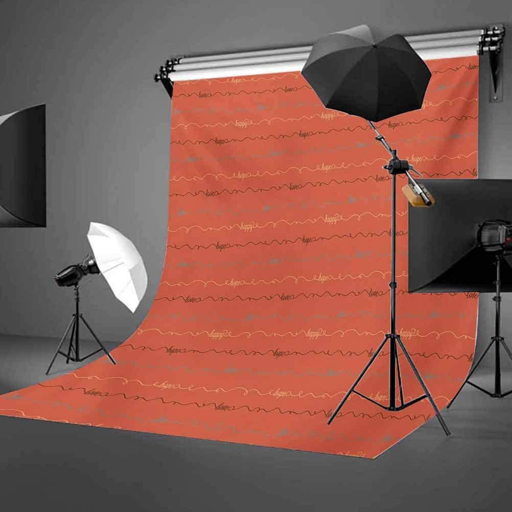 Quote 10x15 FT Photography Backdrop Dark Coral Backdrop Image with Inspiring Letterings Hope Love Happy Background for Kid Baby Boy Girl Artistic Portrait Photo Shoot Studio Props Video Drape Vinyl