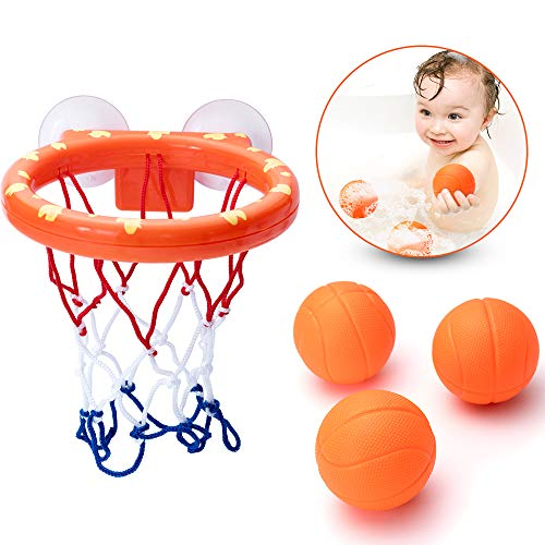 (IJUSTBY Bath Toy Basketball Hoop& Balls Set for Boys and Girls - Kid & Toddler Bath Toys Gift Set)