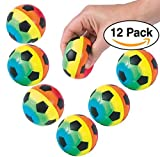 Soccer Foam Rainbow Soccer Sport Stress Balls For Kids Soccer Party Favors / giveaways, 12-Pack