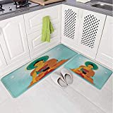 2 Piece Non-Slip Kitchen Mat Rug Set Doormat 3D Print
