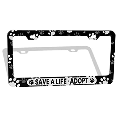 DZGlobal Save A Life Adopt Pet Cat Dog License Plate Frames Paw Prints Design License Plate Covers Aluminum Novelty Car Tag Frame 2 Holes and Screws for Adults: Automotive