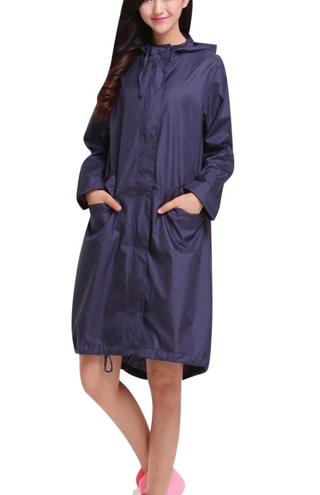LaoZan Mujer Raincoats De Ripstop Poncho De Lluvia Impermeable Con Capucha Chupasquero Azul marino