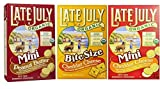 Late July Organic Non-GMO Mini Crackers 3 Flavor Variety Bundle: (1) Peanut Butter Minis, (1) Cheddar Cheese Bite Size, and (1) Cheddar Cheese Minis, 5 Oz. Ea.