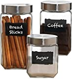 Circleware Provincial Chalkboard Glass Canisters with Metal Lids, Set of 3, Kitchen Glassware Food Beverage Preserving Containers for Coffee, Sugar, Tea, Spices, Cereal, 84 oz, 44 oz, 32 oz, 3pc