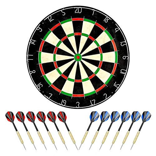"""linkvisions Sisal/Bristle Dartboard with Staple-Free Bullseye 17.8"""" x1.5 and 12 Steel Tip Darts 18g, Dartboard Mounting Kits Included"""