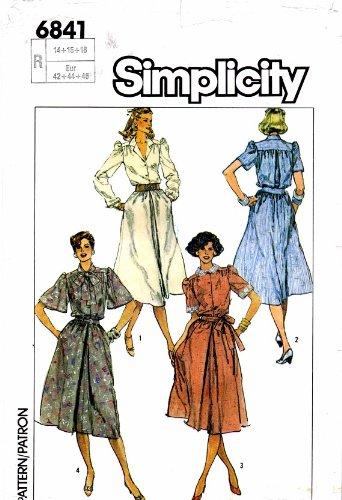 Flutter Cuff (Simplicity 6841 Womens Shirtwaist Dress Vintage Sewing Pattern Check Offers for Size)