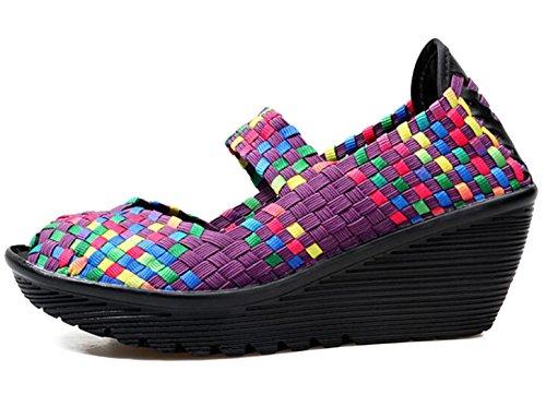5 De Chaussures Taille Sneaker Mary forme Travail Compense Marche Toe Femmes Sandale Peep Gfone 8 Sur Pourpre Plate 2 Couleur Jane Casual Toile Slip z4n7Rv