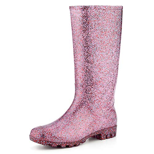 KomForme Women' s Knee High Waterproof Rain Boots Glitter, Matte and Gradient