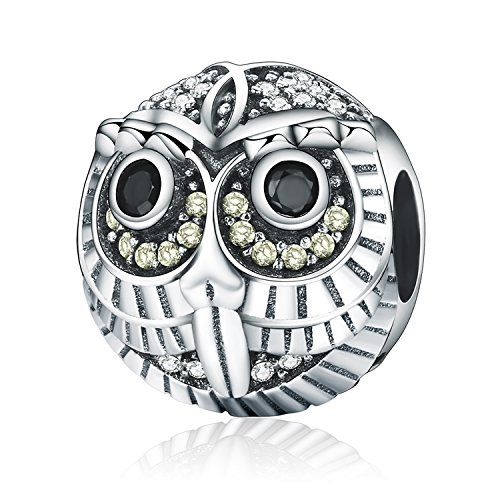 Pandora Jewellery - Owl Charm Clear AAA CZ Paved Wisdom Bead Charms fit Pandora Bracelet Necklaces Jewelry Birthday Gifts