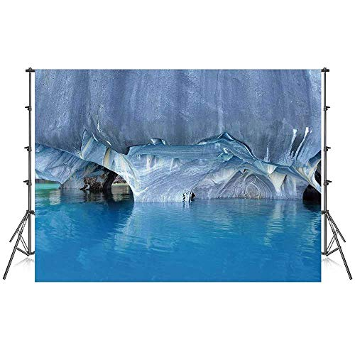 Blue Stylish Backdrop,Marble Cave General Carrera Lake in Chile Natural Wonders Rocks Azure Water for Photography Festival Decoration,59''W x 39''H ()