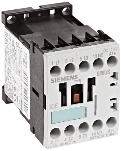 Siemens 3RT10 16-1BB41 Motor Contactor, 3 Poles, Screw Terminals, S00 Frame Size, 1 NO Auxiliary Contact, 24V DC Coil Voltage 3 Pole 24v Coil