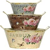 "Tin Decoupage Tubs, Set of 3 - 12.25""Lx9.5""Wx6""H - Jardin"