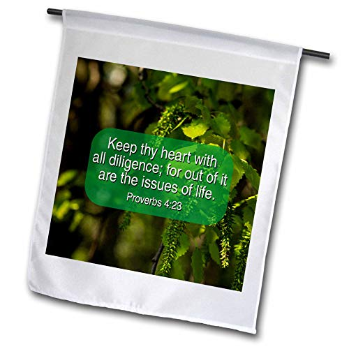 3dRose Alexis Design - Religion Christian Proverbs - Keep Thy Heart with All Diligence, Out of it are The Issues of Life - 18 x 27 inch Garden Flag (fl_311056_2)