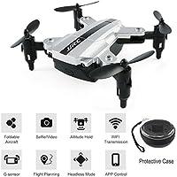 BTG JJRC H54W E-Fly Foldable Mini Pocket Quadcopter - WIFI FPV Selfie Drone with HD Camera, Sound Mode, APP Control, Altitude Hold, Headless Mode, One Key Return, G-sensor (H54W Drone (Silver))