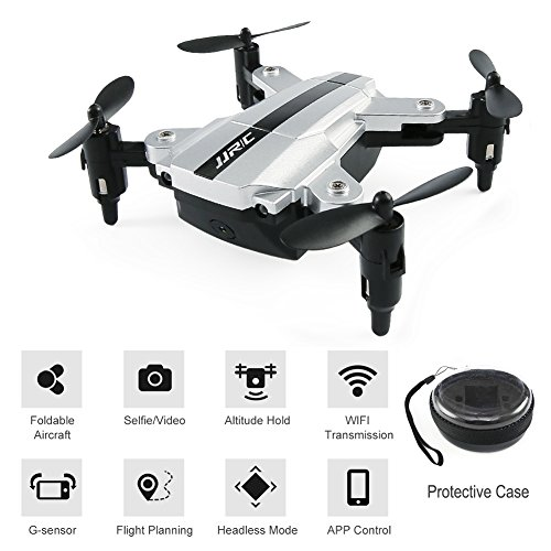 BTG JJRC H54W E-Fly Foldable Mini Pocket Quadcopter - WIFI FPV Selfie Drone with HD Camera, Sound Mode, APP Control, Altitude Hold, Headless Mode, One Key Return, G-sensor (H54W Drone (Silver)) by BTG