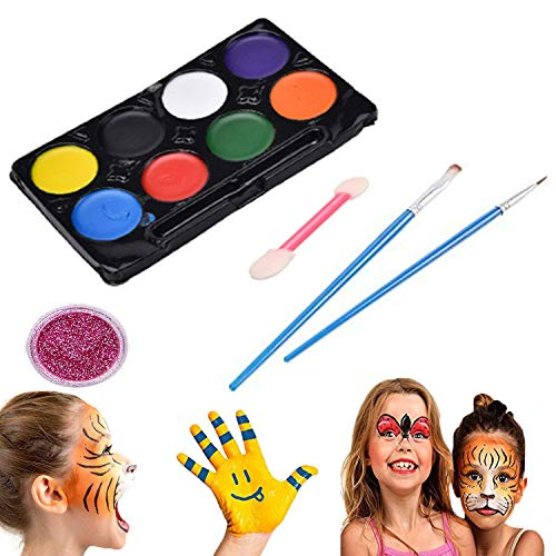 Face Painting Kit, 12 Colors Non Toxic Kids Body Makeup Washable Face Paint Ideal for Halloween Birthday Parties Costumes Makeup -