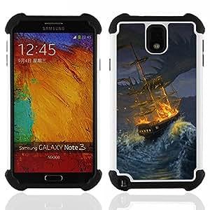 - ship storm pirate seas waves night painting/ H??brido 3in1 Deluxe Impreso duro Soft Alto Impacto caja de la armadura Defender - SHIMIN CAO - For Samsung Galaxy Note3 N9000 N9008V N9009