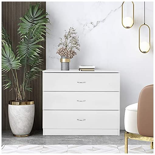 Bedroom Goujxcy White 3 Drawer Dresser, Modern Wood Chest Cabinet, Accent Sofa End Tables Nightstands for Bedroom Hallway Living…