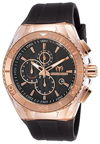 Technomarine Men's Cruise Star Stainless Steel Quartz Watch with Silicone Strap, Black, 29 (Model: TM-115037)