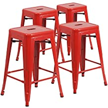 Flash Furniture 24-Inch High Backless Red Metal Indoor-Outdoor Counter Height Stool with Square Seat, 4-Pack